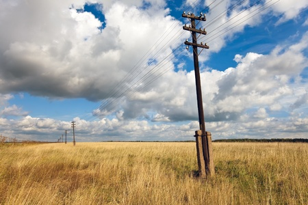 Old wooden electric pillar in the field photo