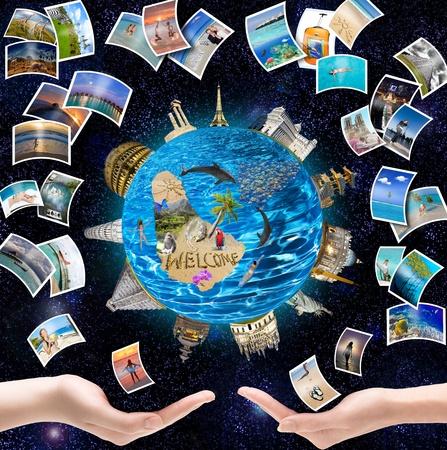 휴가의 꿈 - 지구를 도는 열대 섬에 휴식 스톡 콘텐츠