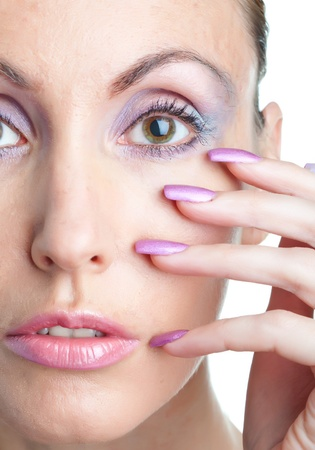 woman with a make-up  and  long nails photo