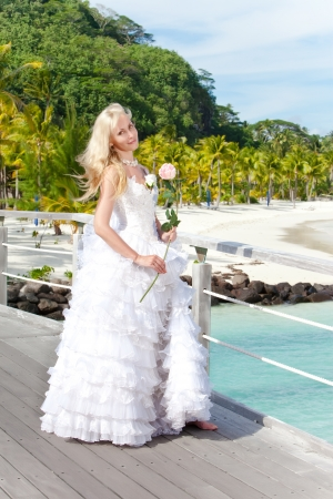 borabora: The young beautiful woman in a dress of the bride on the bridge about sea edge