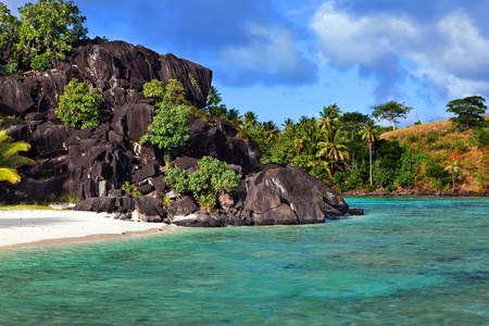 Black rocks. Bora-Bora. Polynesia photo