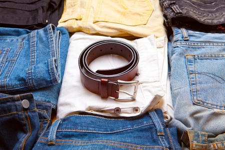 The trousers combined by piles and a belt Stock Photo - 11282483