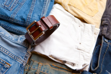 The trousers combined by piles and a belt Stock Photo - 11282465