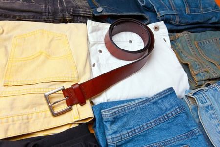 The trousers combined by piles and a belt Stock Photo - 11282486