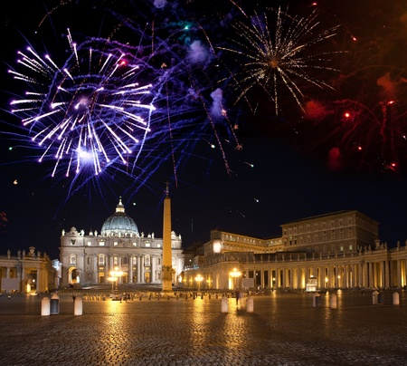 basilica of saint peter: Vatican. Celebratory fireworks over a St Peters Square   Editorial