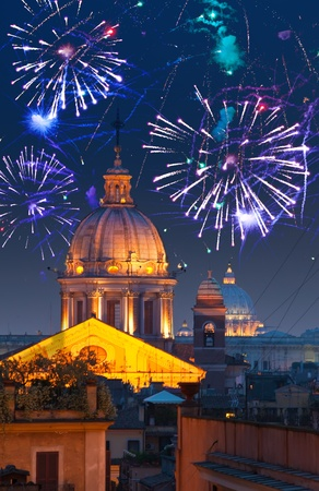 historical reflections: Celebratory fireworks over Rome. Italy.