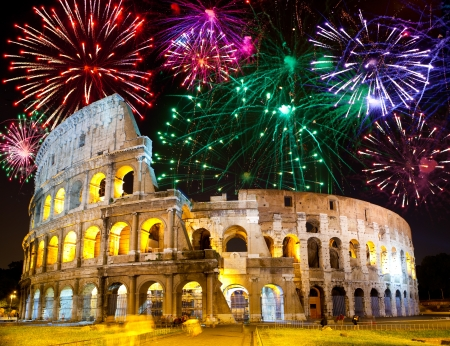 Celebratory fireworks over Collosseo. Italy. Rome   Stock Photo