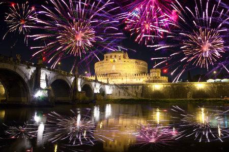 Celebratory fireworks over Castel Sant Angelo. Italy. Rome.