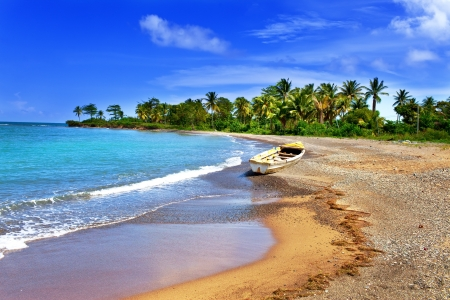 caribbean: Jamaica. A national boat on sandy coast of a bay