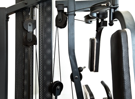 gym equipment- elements of a power training apparatus.   photo