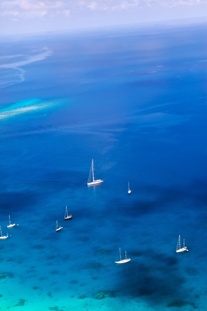 Yachts in a bay. Aerial view.
