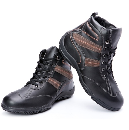 rubber lining: Mens boots on white background