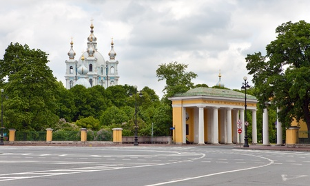 View on Smolnyi  cathedral (Smolny Convent) St. Petersburg through the square of Proletarian dictatorship.