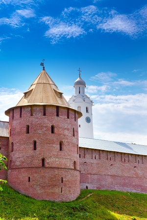 Mitropolichya tower and Clock tower. The Kremlin (Detinets-stronghold). Great Novgorod Stock Photo - 12369095