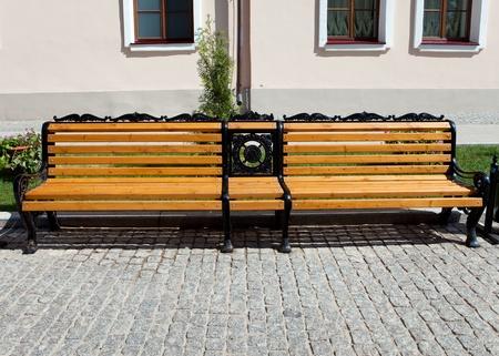 Bench in city street. photo