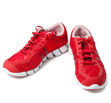 tennis shoe: Brightly red trainers