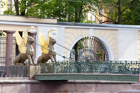 Russia. Saint petersburg. Bank bridge. Sculptures of Griffons. photo