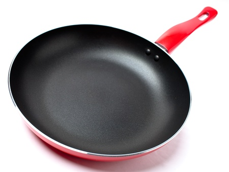 nonstick: Red frying pan with teflon nonstick covering