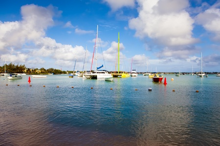 Catamarans and boats in a bay. Grand Bay (Grand Baie). Mauritius photo
