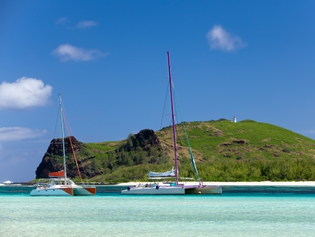 Mauritius. Catamarans near the island Gabriel photo