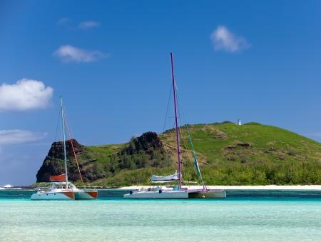 Mauritius. Catamarans near the island Gabriel photo