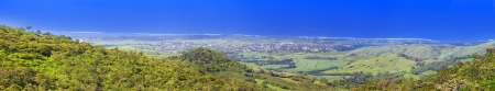 Mauritius, panoramic aerial view of mountains and Indian Ocean   photo
