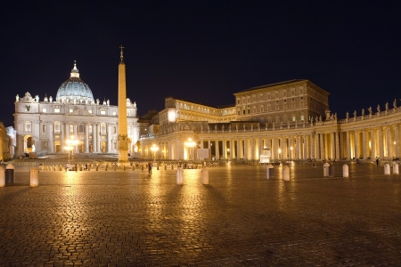 Italy. Rome. Vatican. Saint Peters Square at night photo