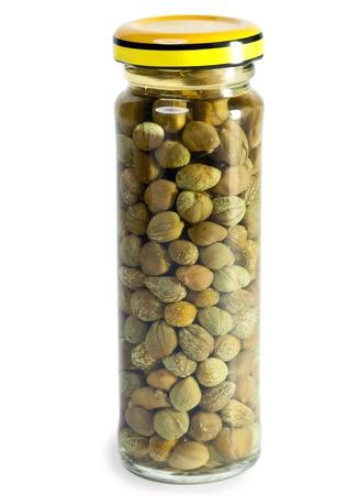 alcaparras: Tarro de cristal con alcaparras en conserva