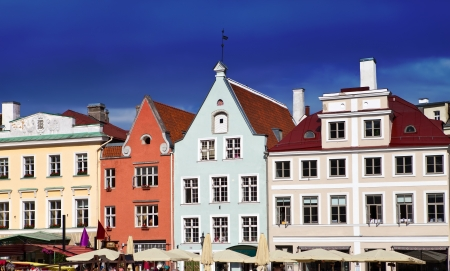 Old city, Tallinn, Estonia. Bright multicolor houses on the Town hall square. photo