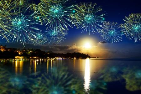 Año Nuevo festivo fuegos artificiales sobre la isla tropical