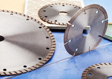 tine: Diamond discs for cutting of tile Stock Photo