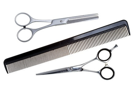 hair clippers: Special scissors for hairdresser operation and a hairbrush