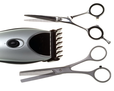 Scissors and the machine for a hairstyle