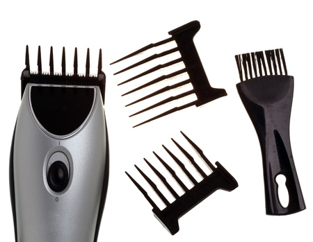 The machine for a hairstyle, nozzles and a brush for edge cleaning photo
