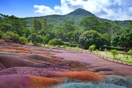 mauritius: Belangrijkste bezienswaardigheid van Mauritius-Chamarel-zeven-kleur land.