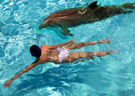 The woman swims in the sea near a dolphin