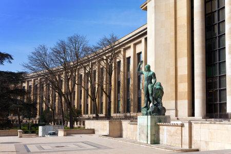 trocadero: Sculpture of (Hercules) Heracles near museums building,  Trocadero, Paris