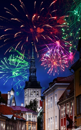Festive fireworks over the Old city in Tallinn, Estonia. photo