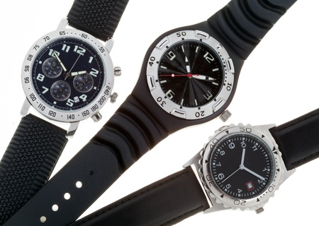 hands  hour: Wrist watches with several dials Stock Photo