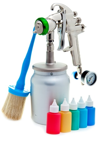 New metal brilliant Spray gun and small bottles with color Stock Photo - 18258374