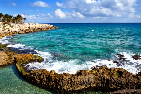 The sea coast in Xcaret park near Cozumel, Mexico   Stock Photo