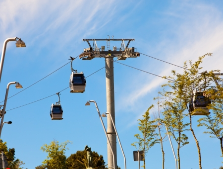 cableway: teleferics (overhead cable cars) over Barcelona, Spain. Cable way at Monjuic hill