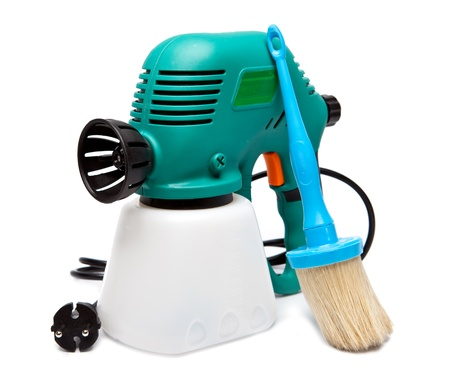 electrical spray gun for coloration, for color pulverization and a paintbrush