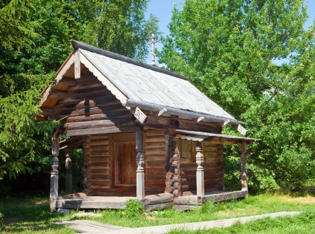 Open-air museum of  ancient wooden architecture. Russia. Vitoslavlitsy, Great  Novgorod.Chapel