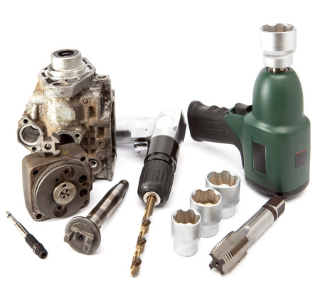 impact wrench: Car repair - details of the pump of high pressure, air impact wrench, air drill