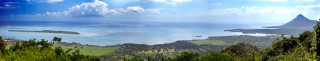 Mauritius. View of mountains and Indian Ocean, panorama  photo