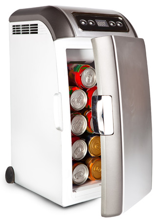 The portable road refrigerator with cans inside   photo