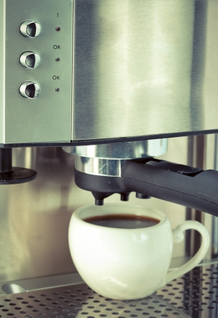 coffee maker and cup,with a retro effect