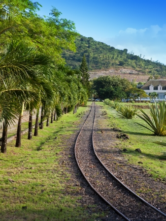gage: ancient Narrow Gage Railway  Stock Photo