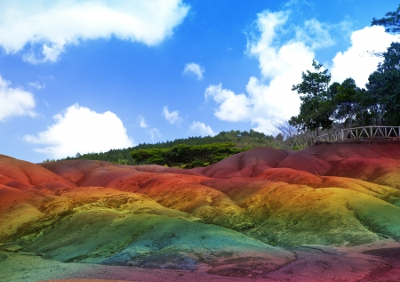 Main sight of Mauritius- Chamarel- seven color lands photo